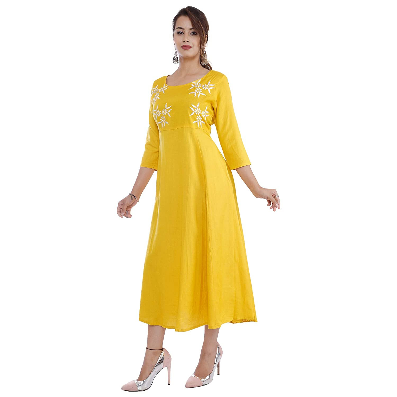 Yellow Color Women's Rayon Angrakha Kurta