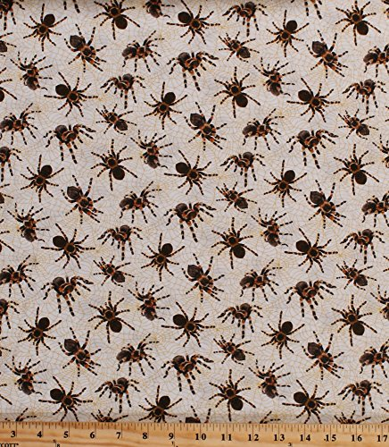 Cotton Spiders Spiderwebs Tarantulas Arachnids Bugs Large Hairy Spiders on Webs Nature Boys Kids You Bug Me Cotton Fabric Print by The Yard (120-13781) -