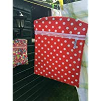 """RED Handmade Very large peg bag 15"""" x 18"""" RED POLKA DOT design in oil cloth"""