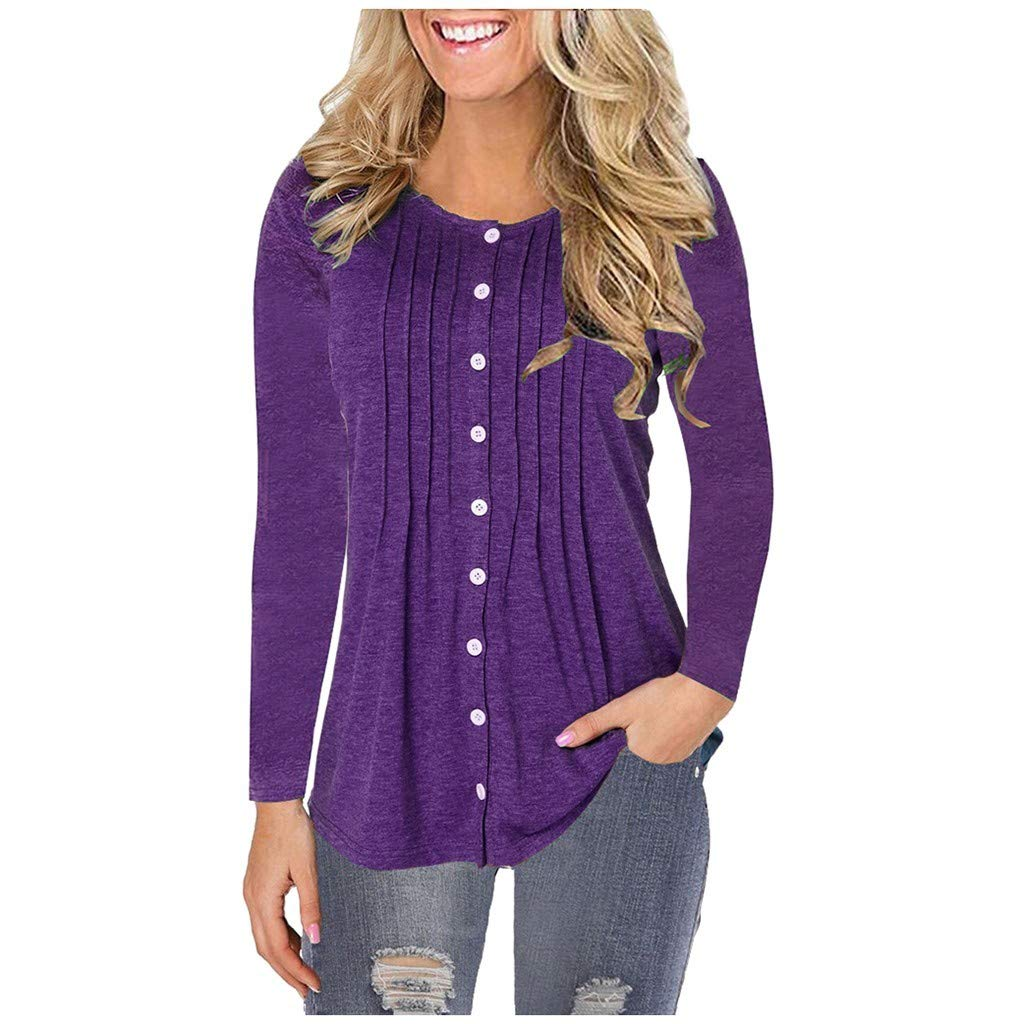 aihihe Long Sleeve Shirts for Women Plus Size Casual Loose Button Solid Basic Winter Fall T-Shirts Blouses Tunic Tops