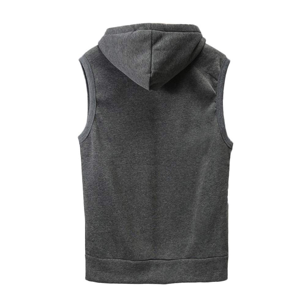WUAI Clearance Men's Hoodie Jackets Sleeveless Slim Fit Waistcoat Solid Color Athletic Sports Tops(Grey,US Size M = Tag L) by WUAI (Image #2)