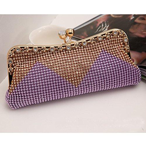 Purple Faux Cascading Delle Bead Perla Di Strass Sera Donne Moda Borsa Frizione wx61FAqA