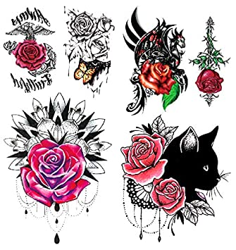 24ee59d493a45 Amazon.com : Oottati 2018 Temporary Tattoos 3D Stickers 2 Sheets Rose  Butterfly Cat : Beauty