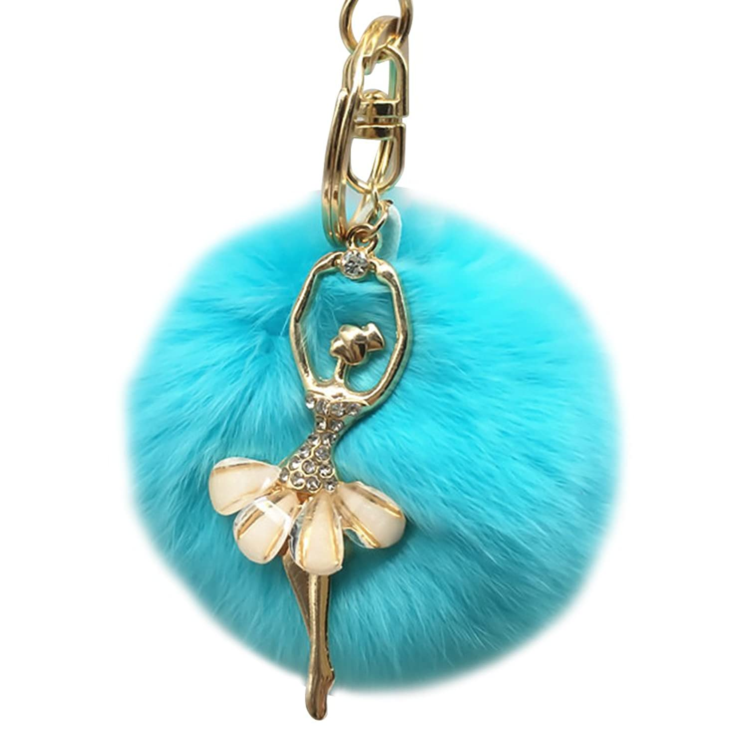 Cute Furry Ball Keychain Bag Charm Car Key Ring with Dancing Girl