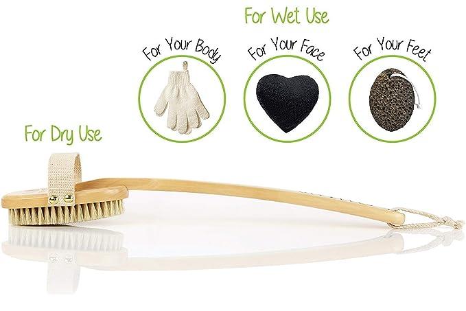 El mejor sistema de exfoliación del cuerpo con cepillo para la piel seca, incluye guantes exfoliantes y esponja para rostro de konjac, reduce la ...