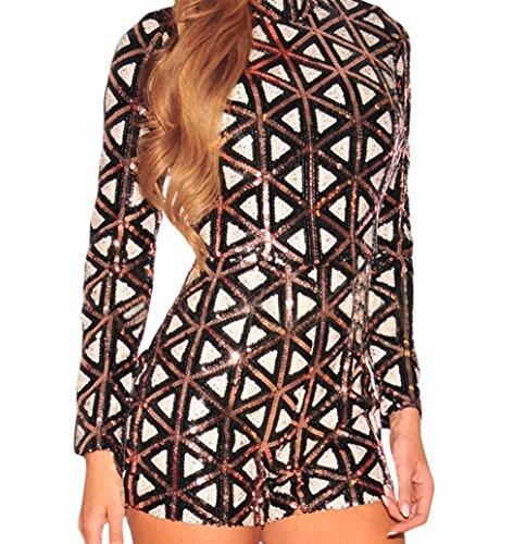 [Christmas YFFaye Women's Stylish Aztec Sequins Long Sleeves Romper L] (70s Jewellery Disco)
