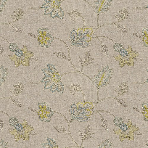 Capri Ottoman - Capri Greens Natural Embroidery Print Upholstery Fabric by The Yard