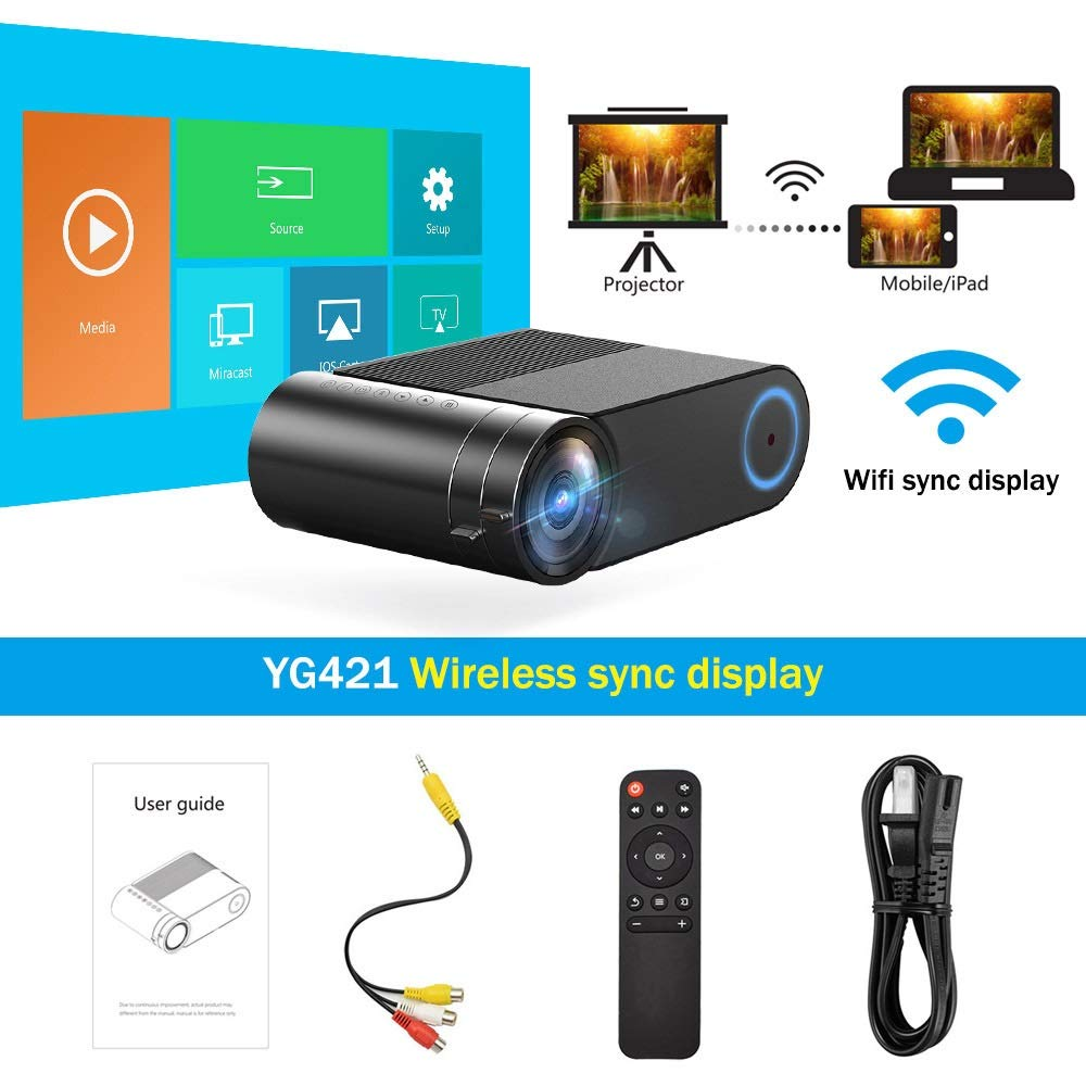 HD YG420 Mini LED 720P Proyector Native 1280x720 Portátil ...