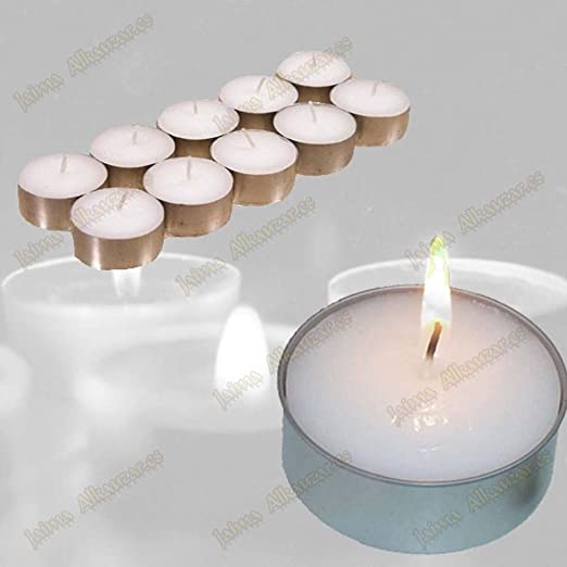 10 Pack velas para fina de base de aluminio de 4 cm – no beflecken – 4 horas: Amazon.es: Iluminación