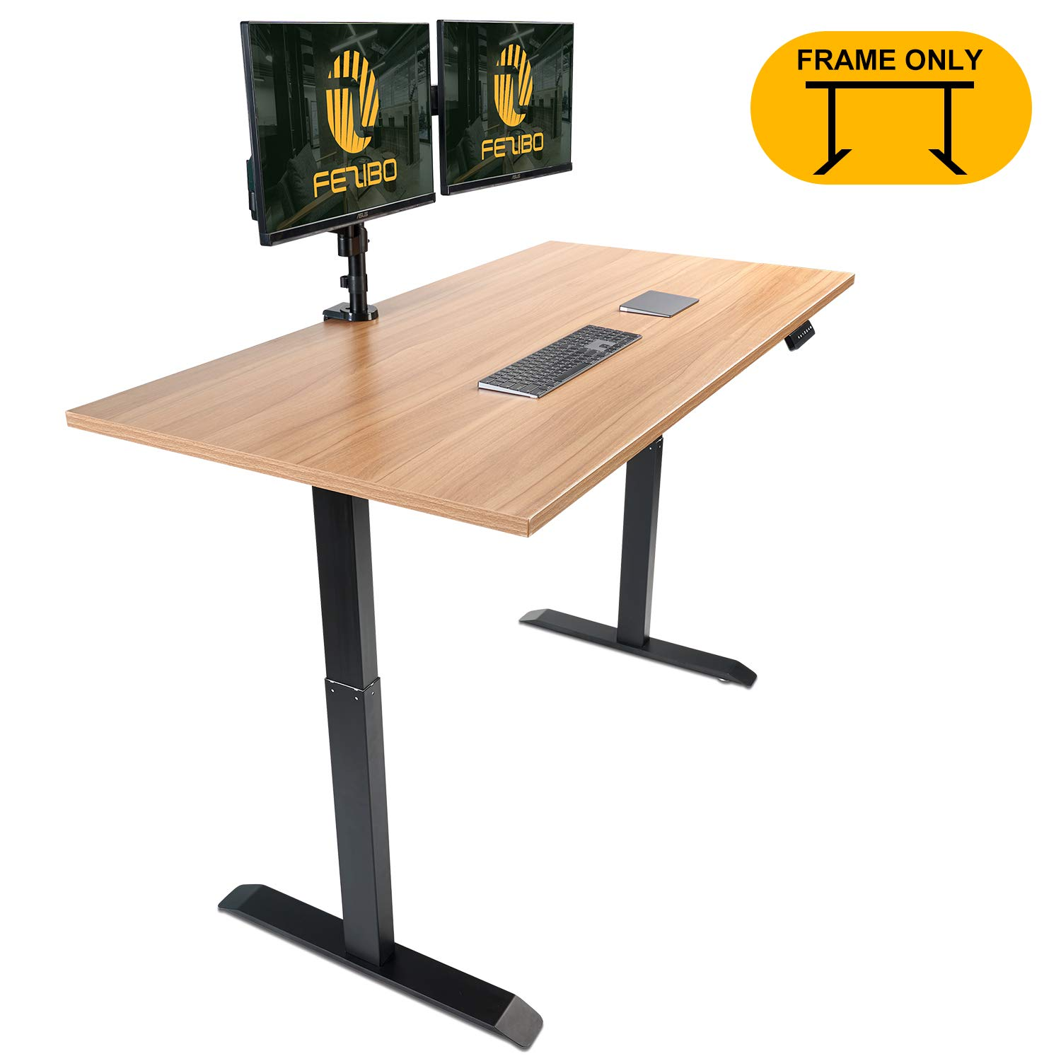 Electric Stand up Desk Frame - FEZIBO Single Motor with Cable Management Rack Height Adjustable Sit Stand Standing Desk Base Workstation