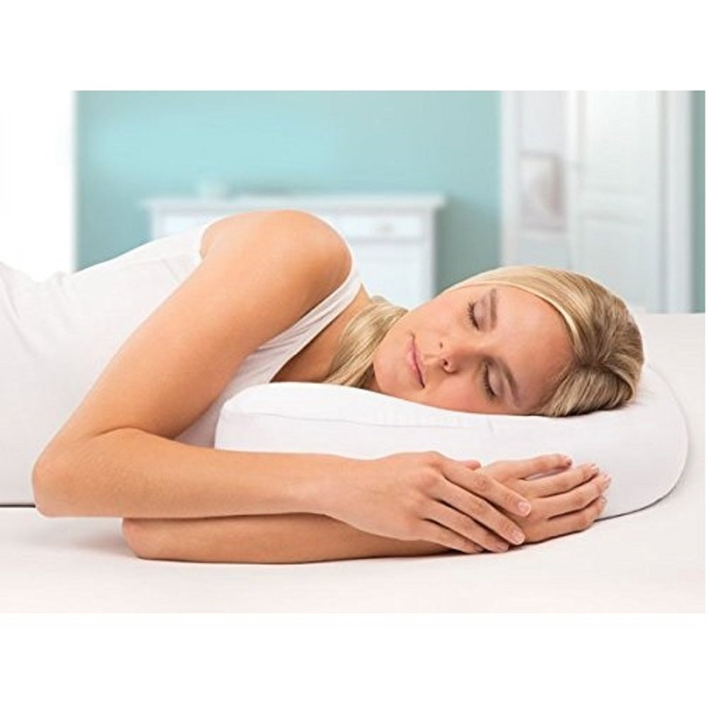 Side Sleeper Contour Pillow Ergonomic Fit Home Pillow with Ear Pocket for Neck, Shoulder, and Back Pain Relief