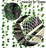 garland jacks bbq - Artificial Vines 75 Feet Total (Value 12-Pack); Simulated Climbing Ivy Plants for Garland or Greenery at Party, Patio or Yard 75 Feet