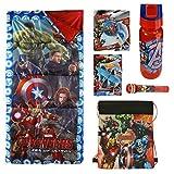 Marvel Avengers 7 Piece Camp Set w/ Sleeping Bag, Water Bottle, Whistle, 2 Gliders, Projector Pop, & Sling bag