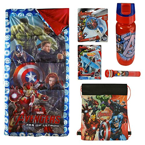 Marvel Avengers 7 Piece Camp Set w/ Sleeping Bag, Water Bottle, Whistle, 2 Gliders, Projector Pop, & Sling (Cardboard Captain America Shield)