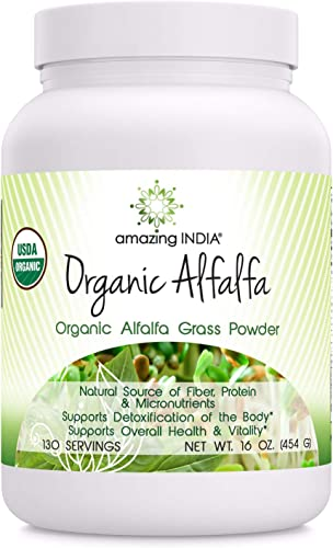 Amazing India Organic Alfalfa Powder 16 Oz 481.94 Gm – USDA Certified Organic- Raw, Vegan Plant-Based Nutrition- Supports Digestive Health, Detoxification and Immune Health*
