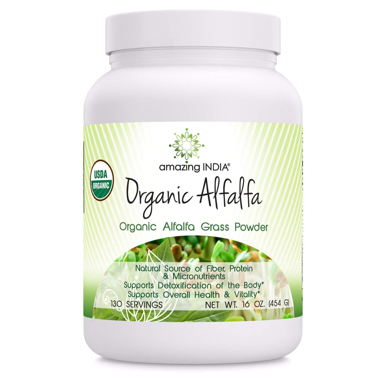Amazing India Organic Alfalfa Powder (Non-GMO)- 16 Oz (481.94 Gm) - USDA Certified ORGANIC- Raw, Vegan- Gluten-Free, Plant-Based Nutrition- Supports Digestive Health, Detoxification and Immune Health*