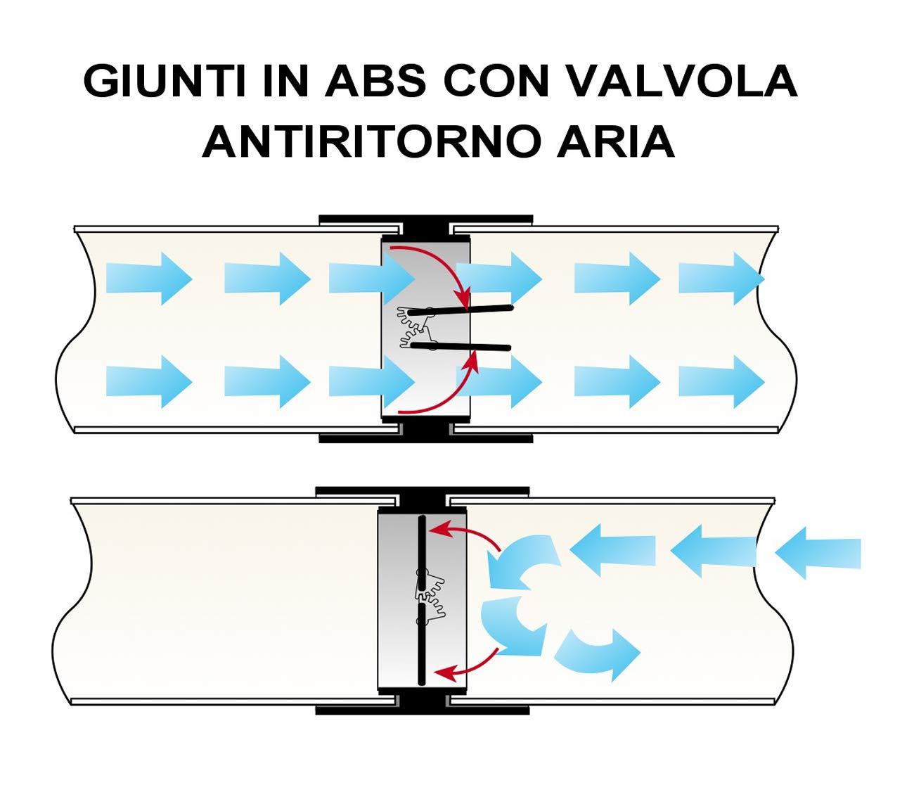 120/x 60/mm La ventilaci/ón cvl126b Junta de ABS con v/álvula de mariposa anti-retorno