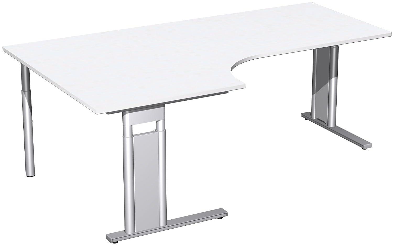 Geramöbel PC-Schreibtisch links höhenverstellbar, C Fuß Blende optional, 2000x1200x680-820, Weiß/Silber