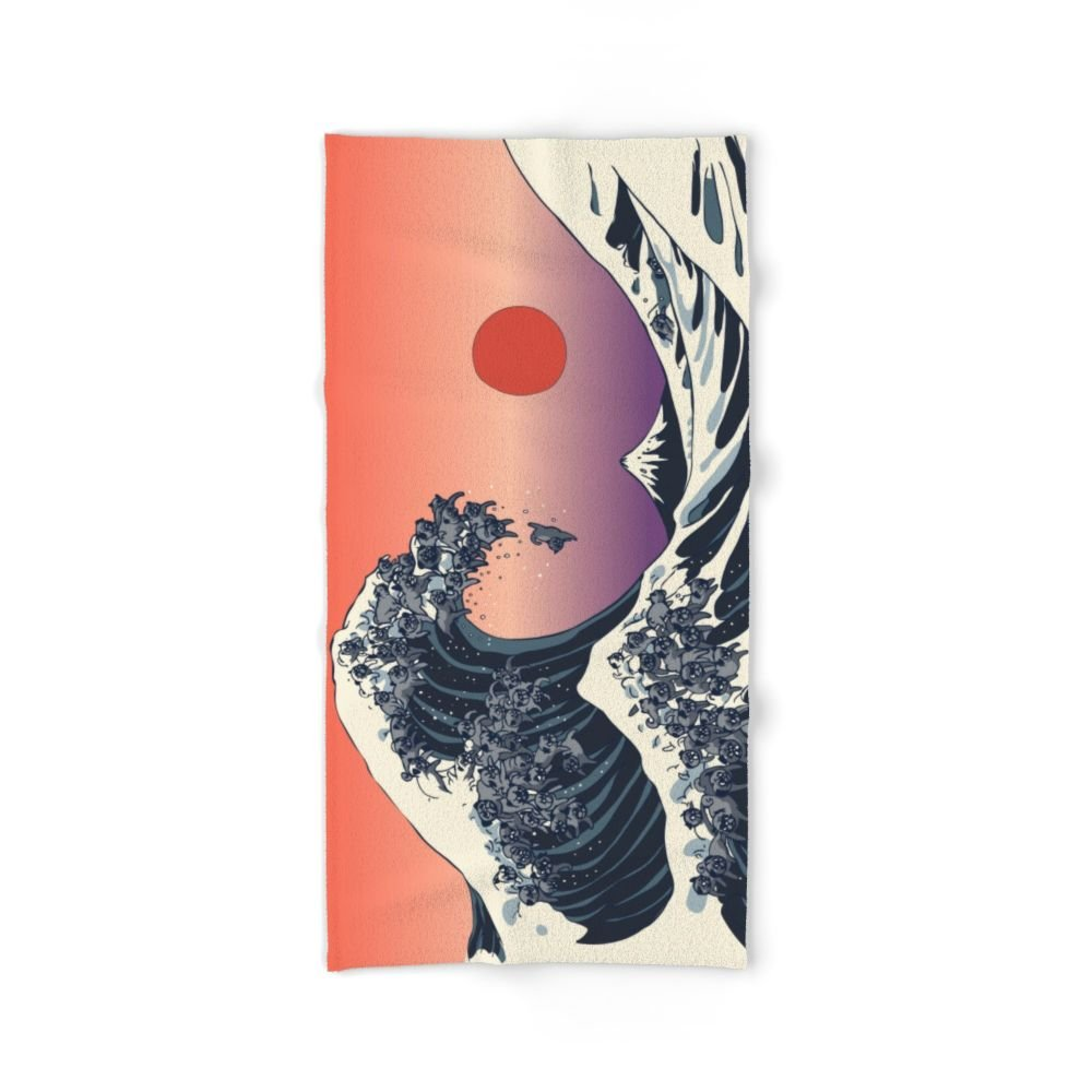 Society6 The Great Wave Of Black Pug Bath Towel 64''x32''
