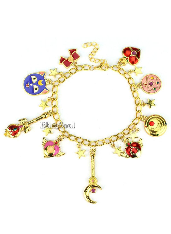 BlingSoul Sailor Moon Charm Bracelet Jewelry - Sailor Moon Merchandise Collection (Gold)