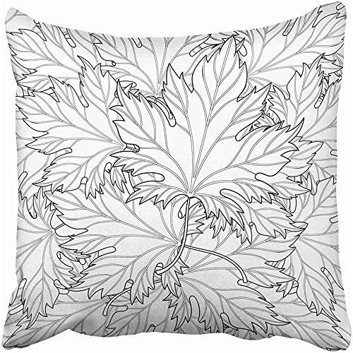 Starocle Zentangle Autumn Fall Leaves for Halloween Thanksgiving Day Freehand Sketch for Adult Coloring Page Throw Pillow Covers 18x18 inch Decorative Cover Pillowcase Cases Case Two Side