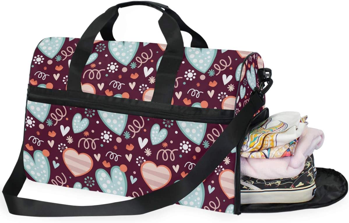 Mint Pink Hearts Pattern Sports Gym Bag with Shoes Compartment Travel Duffel Bag for Men Women