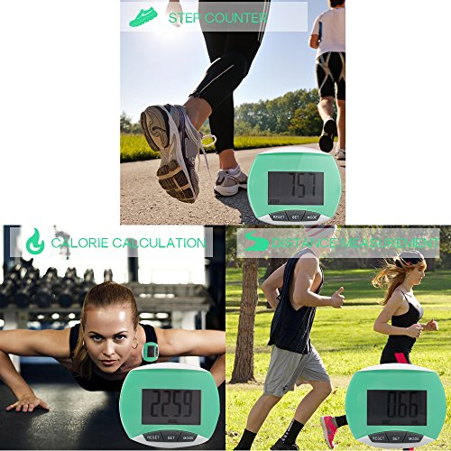Tsumbay Pocket Pedometer Accurately LCD Display Fitness Tracker Digital Sports Step Calorie & Distance Counter w/ Clip for Running Walking