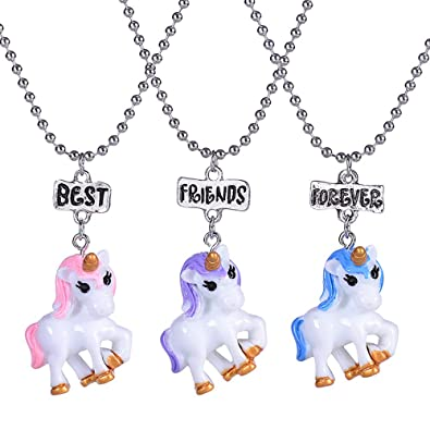 Reliablee Licorne Pendentif Bff Best Friend Forever Colliers Pour 3