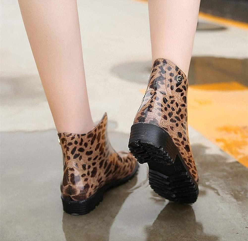 DYTTO Frau Regenstiefel Wasserdicht Rutschfest Hoher Absatz Stiefeletten Leopardenmuster Dick Dick Dick Baumwolle Socke Schnalle PVC Warme Schuhe c2d8de
