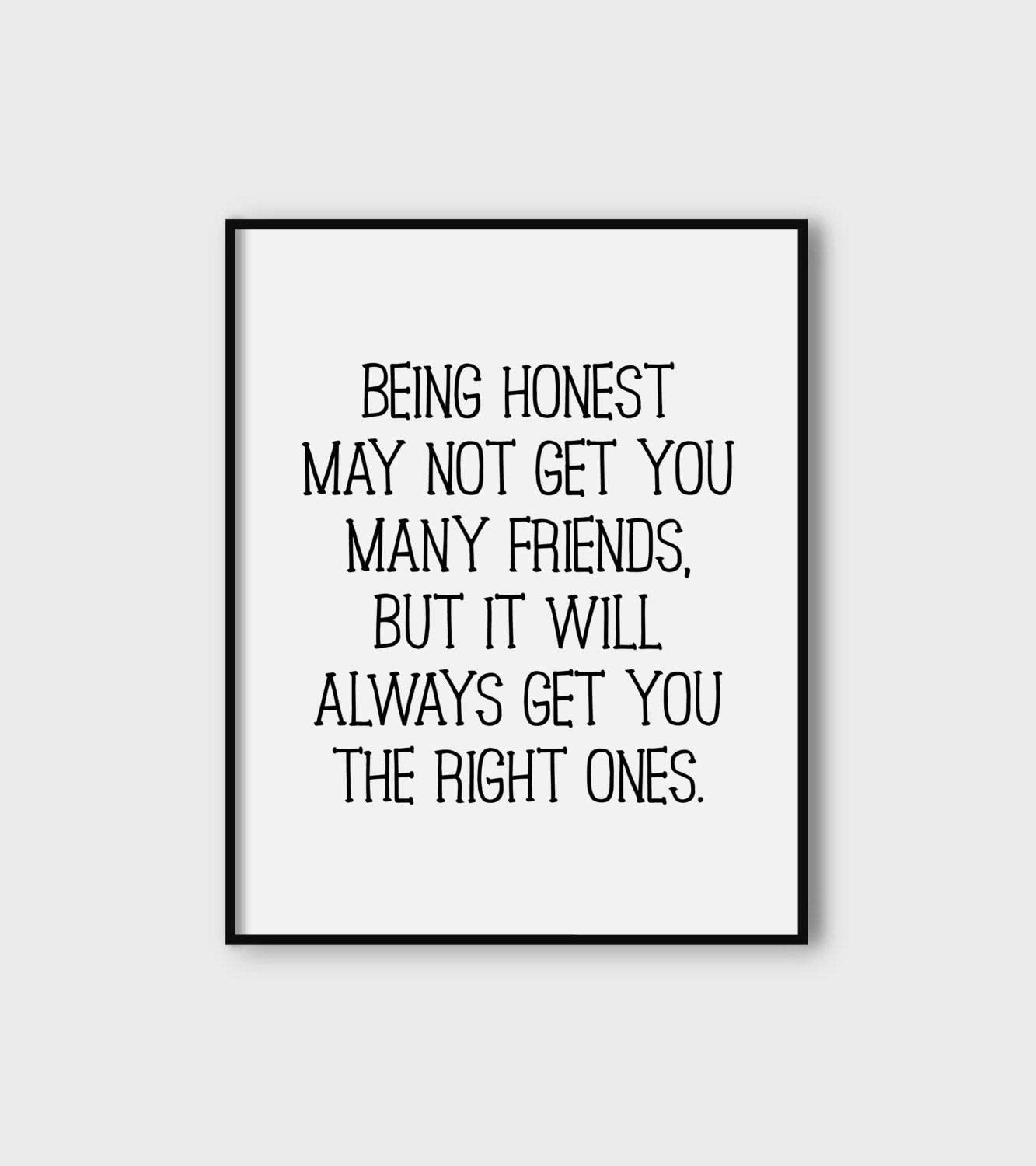 Lplpol Being Honest Printable Typography Quote Poster Friendship Office Decor Wall Decor Honesty Print Instant Download Quote Print Digital Art
