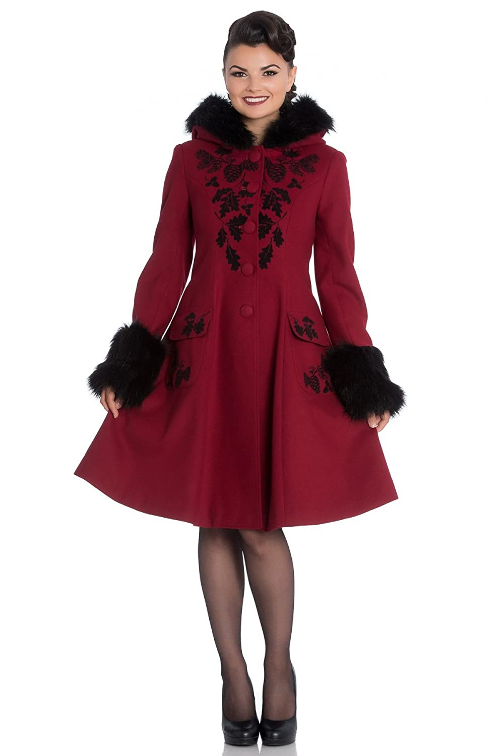 What Did Women Wear in the 1950s? Hell Bunny Sherwood Victorian 3/4 Length Swing Coat Red  AT vintagedancer.com
