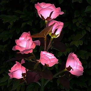 KEISKEI Outdoor Solar Garden Stake Lights, Upgraded Waterproof LED Solar Flower Lights with 6 Rose Flowers, 1 Pack Landscape Lights for Patio Garden Lawn Pathway Walkway Courtyard Backyard (Pink)