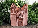 4'' Christmas Tree Ornament San Carlos Borromeo California Mission Church Southwest Handmade Terracotta Clay Art Holiday Decor