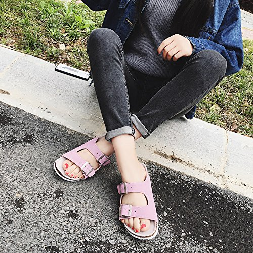 Xing Lin Sandales En Cuir LÉté, Sandales Pour Hommes Télévision Antidérapant Idéal Pour Les Couples Et Les Chaussures De Plage Cork Chaussons Chaussons Femme Cool 43 Standard 109 N Double-Laine Rose