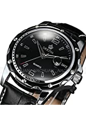 New Luxury Orkina Mens Black Analog Sport Quartz Date Leather Army Wrist Watch