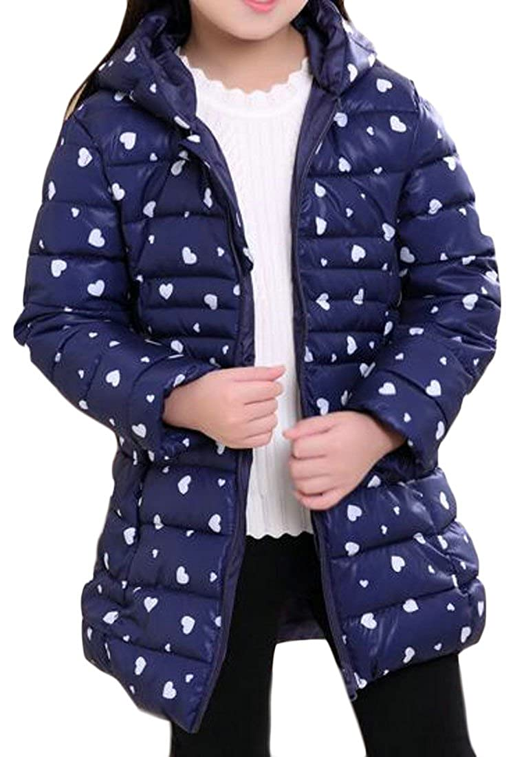 Sweatwater Girls Bubble Print Beautiful Hooded Puffer Parka Jackets Coats