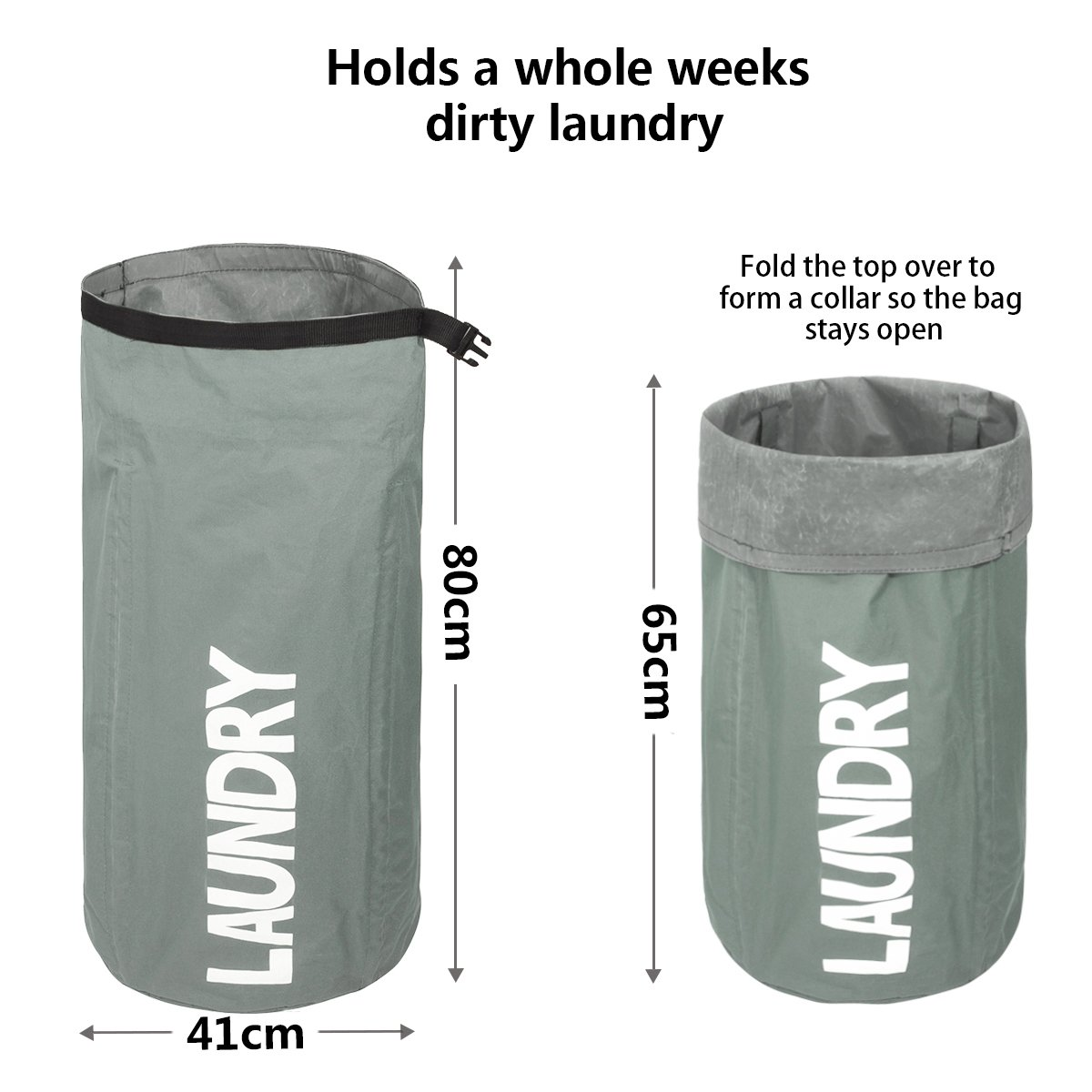 WOWLIVE Extra Large Foldabe Laundry Basket Round Tall Collapsible Laundry Hamper Waterproof Bag with Heavy Duty Laundry Liners Standing Laundry Bin for Home and Bedroom(Gray)