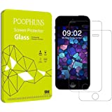 Pellicola Vetro Temperato iPhone 5 5s 5c SE, POOPHUNS 2 Pack Pellicola Protettiva iPhone 5 5s 5c SE(0.3mm HD Alta trasparente), 9H Durezza ultra resistente Vetro Temperato Screen Protector-Bordi Arrotondati da 2.5D per iPhone 5 5s 5c SE (Easy-Install Kit)