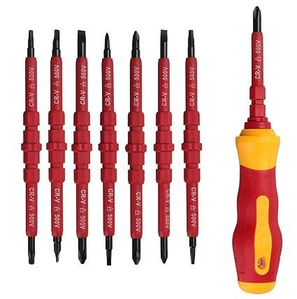 Malayas® Juego de 7pzas Destornillador y Atornillador para Electricista a 500V Reemplazable con Mango Ergonómico