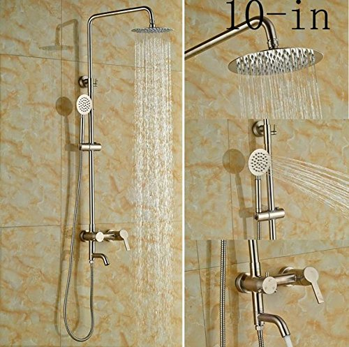 GOWE Single Lever Bathroom Shower Set Bath 10-in Shower Faucet With Hand Shower Wall Mounted 0