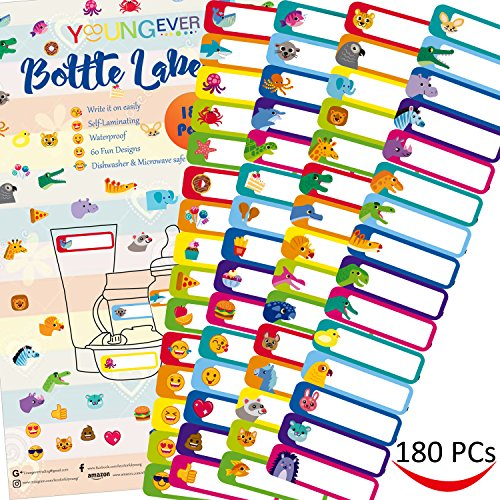 180 Pcs Baby Bottle Labels for Daycare, Waterproof, Self-lamination, Write-on, Fun Design Baby Bottle Seal