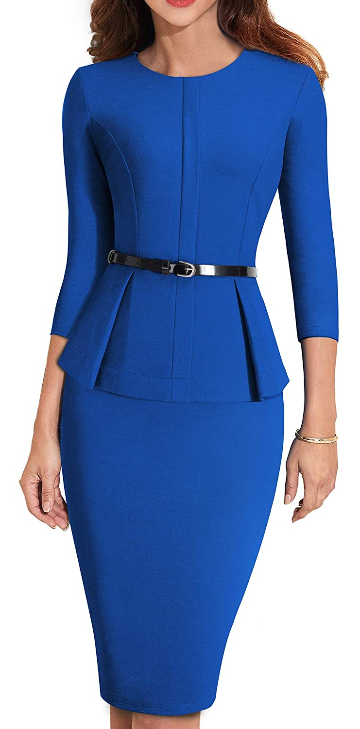 bluee HOMEYEE Women's 3 4 Sleeve Office Wear Peplum Dress with Belt B473