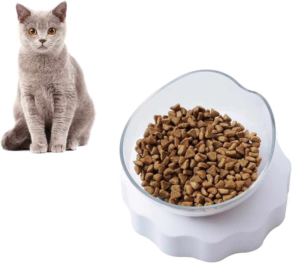 Raised Cat Food Bowl, Elevated Tilted Cat Food and Water Bowl Set, Anti Vomiting Cat Feeding Bowl, Kitten Dishes and Water Feeder, Plastic Food Grade Material, Pet Dish for Indoor Cats Small Dogs