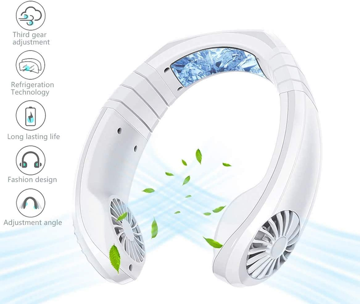 USB Portable Air Cooler Mini Electric Air Conditioner Neck Cooling Fan (White)