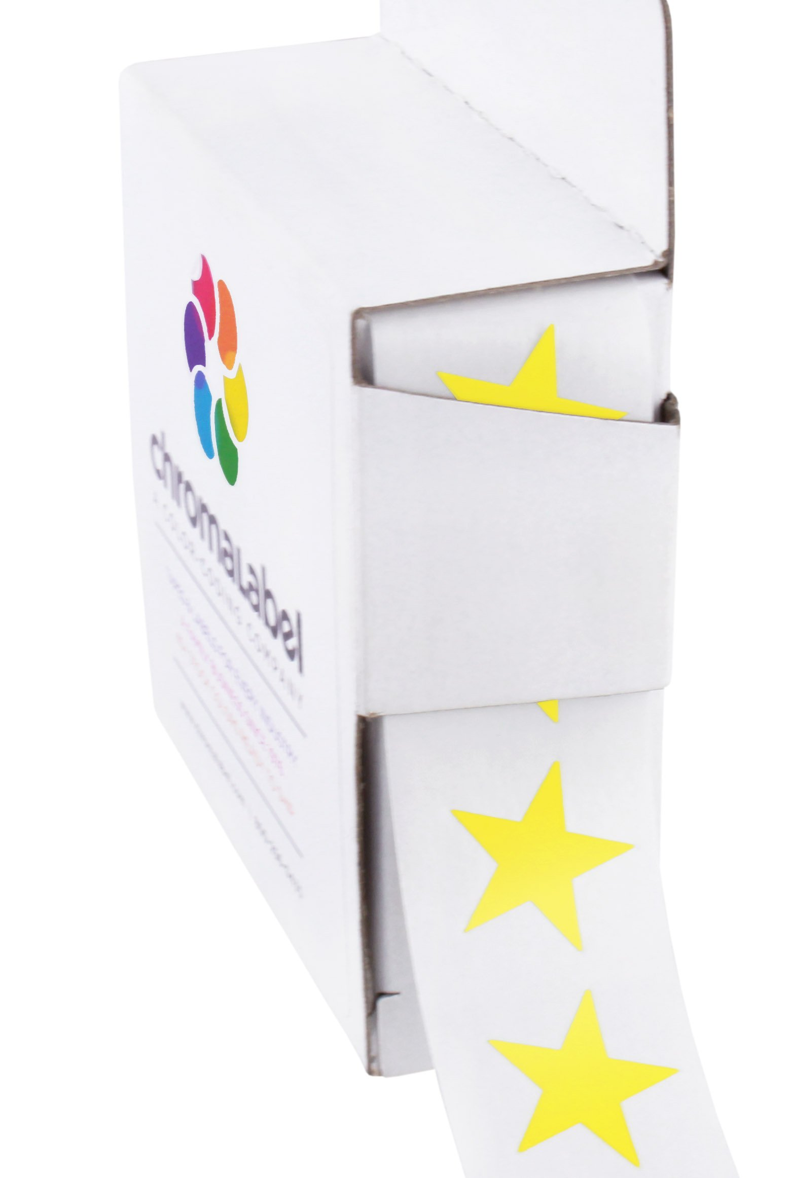 ChromaLabel 3/4 inch Color-Code Star Labels | 1,000/Dispenser Box (Yellow)