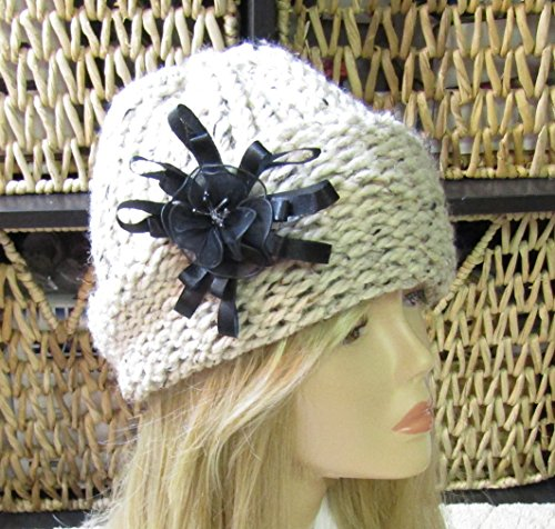 Tweed Cloche - Tweed Cloche Adult Hand Knit Hat with Removable Black Flower Ready to Ship