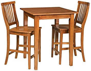 Home Style 5180 359 Arts And Crafts 3 Piece Bistro Set, Cottage Oak