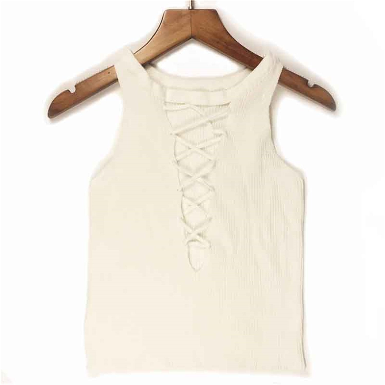 Amazon.com: Willie Marlow Elasticity Knitted Crop Tops Womens Club Tank Top Wear On Two Sides Short Camis O-Neck V-Line Bandage Tops 01 One Size: Clothing