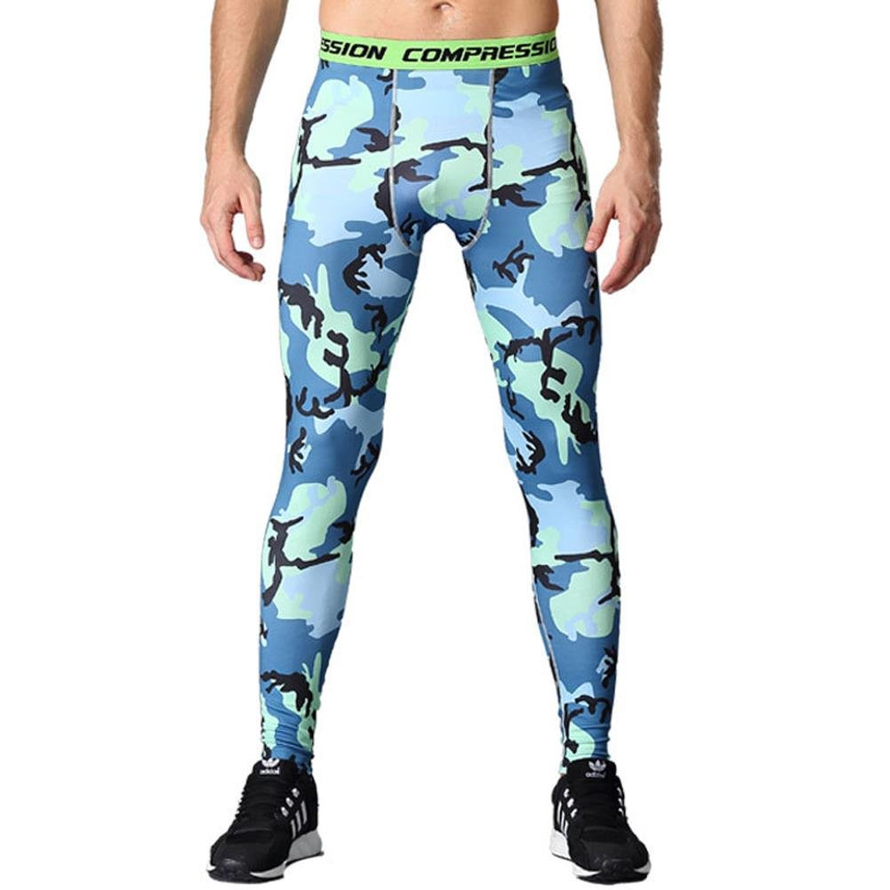 HOTIAN Men Sports Camo Compression Pants Running Tights Quick-Drying Long Leggings