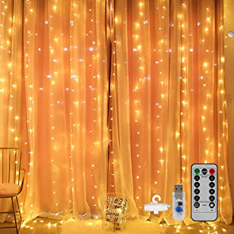 Blanco C/álido USB 8 Modos y Resistencia al agua Navidad Para Exteriores Interiores Dormitorios DazSpirit luces decorativas de ventana de 3M*3M Luces LED de cortina de hadas Jardines y Techos